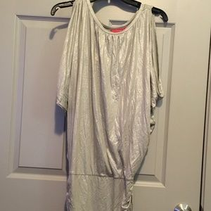New York & Company Dresses - New York and Company Silver ruched dress